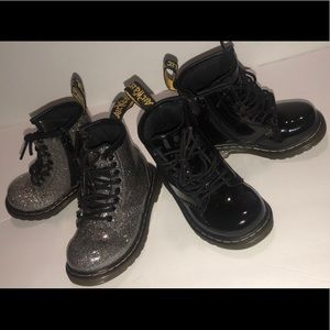 Dr. Martens Toddler Boots 2 Pair in Black + Silver